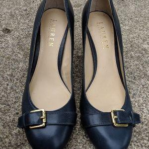 Ralph Lauren Navy Blue Leather Heels Size 6B NWOT